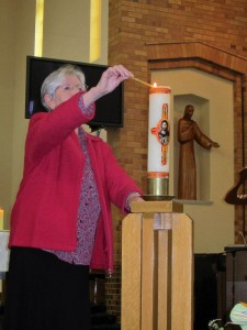 Sr Maureen - lighting Paschal Candle